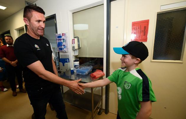 EURO 2020 Ambassador Robbie Keane visits Children's Health Ireland at Crumlin