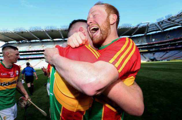 Paul Coady and Richard Kelly celebrate after the game