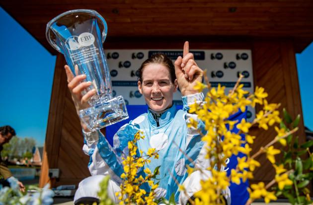 Rachael Blackmore celebrates winning the Irish Stallion Farms EBF Mares Novice Hurdle