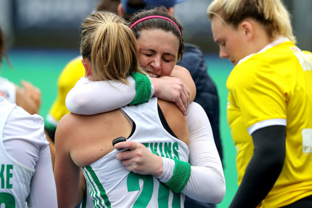 Chloe Watkins and Roisin Upton celebrate after the game