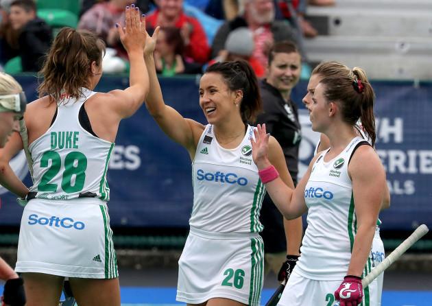 Anna O'Flanagan celebrates scoring a goal with Deirdre Duke