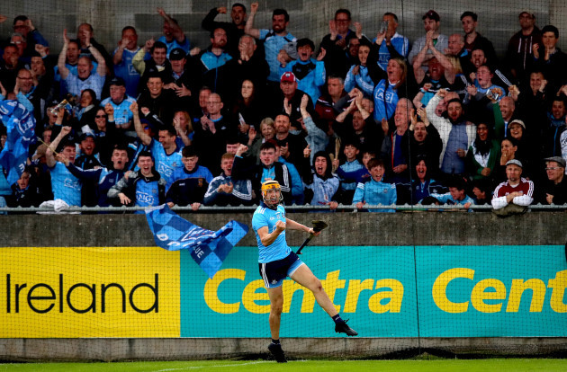 Eamon Dillon celebrates scoring the first goal