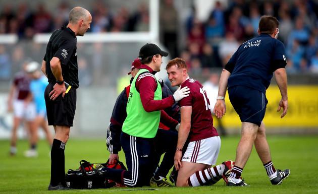 Conor Whelan receives treatment