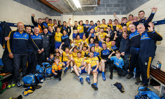 Roscommon celebrate after the game in the changing room.