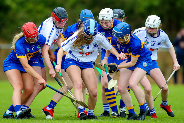 Tipperary and Waterford scramble for the ball