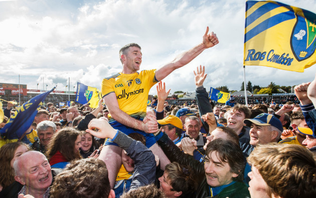 Cathal Cregg celebrates after the game with fans
