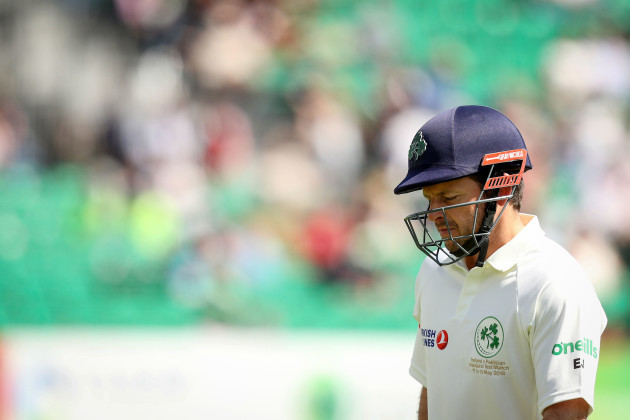 Ed Joyce leaves the pitch dejected after being dismissed LBW by Mohammad Abbas