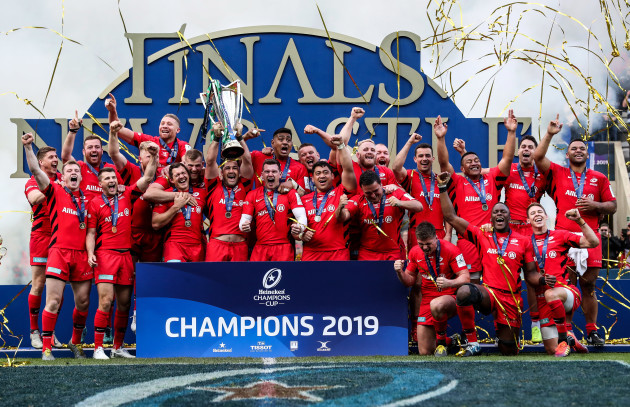 Saracens celebrate with the Heineken Champions Cup