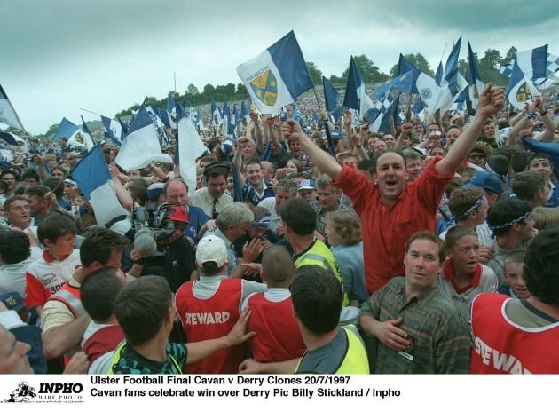 Cavan fans celebrate win over Derry 20/7/1997