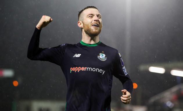 Jack Byrne celebrates after the game