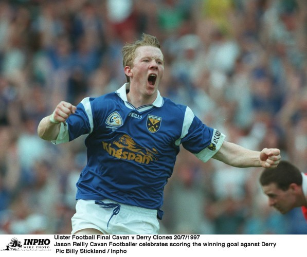 Jason Reilly of Cavan celebrates scoring the winning goal aganst Derry 20/7/1997