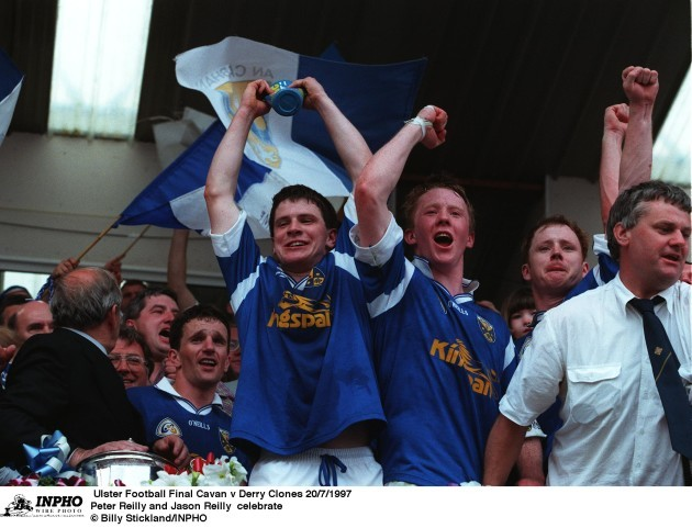 Peter Reilly and Jason Reilly celebrate  20/7/1997