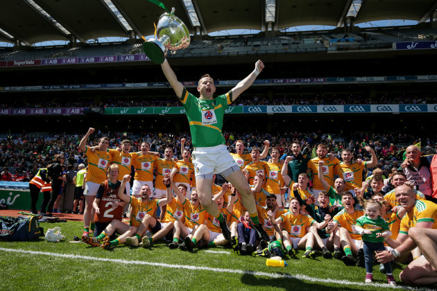 Declan Molloy celebrates with the Lory Meagher Cup
