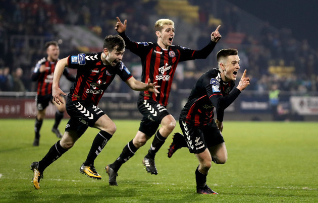 Darragh Leahy celebrates scoring their second goal