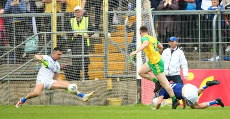 Raymond Galligan saves a goal effort from Jamie Brennan