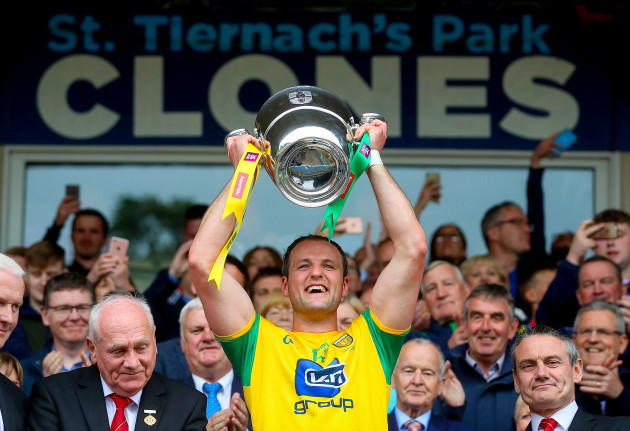 Michael Murphy lifts the Anglo Celtic Cup