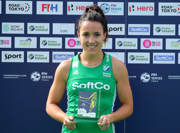 Anna O'Flanagan is presented with the Player of the Tournament award