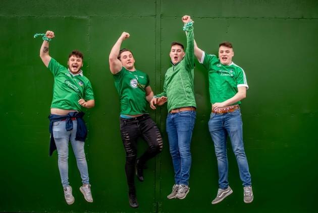 Limerick fans, Kyle Greaney, Dan Hurley, Jamie Butler and Sean Keane