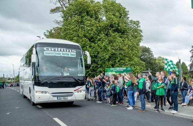 The Limerick team buss arrives