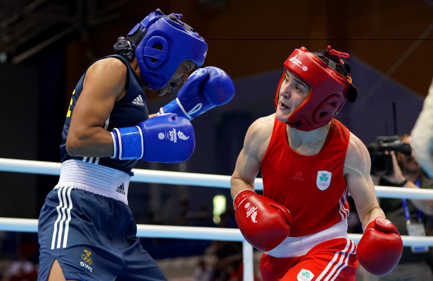 Kellie Harrington in action against Agnes Alexiusson