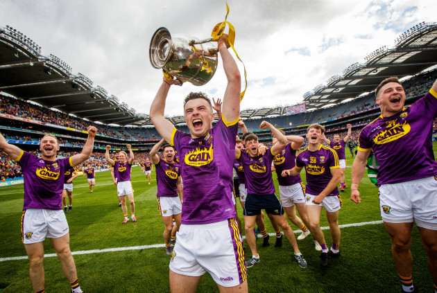 Rory O'Connor celebrates with the Bob O'Keeffe Cup