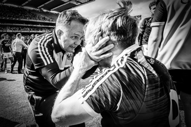 Davy Fitzgerald celebrates after the game with Diarmuid O'Keefe