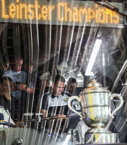 Davy Fitzgerald on the team bus with the trophy after the game