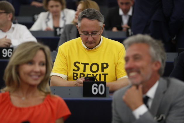 Turbulent day in European parliament as Brexit Party MEPs turn backs