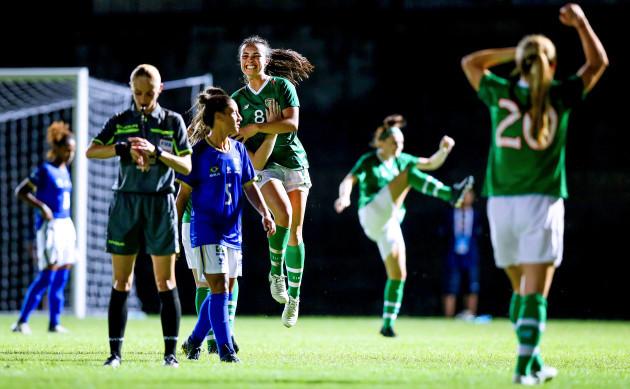 Niamh Farrelly celebrates at the final whistle