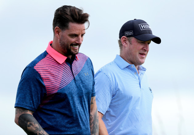 Keith Duffy and Jamie Donaldson on the 17th fairway
