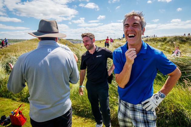 James Nesbitt shares a joke on the 6th tee box