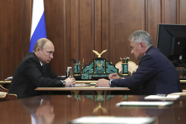 Vladimir Putin meets Russian Defence Minister in Moscow