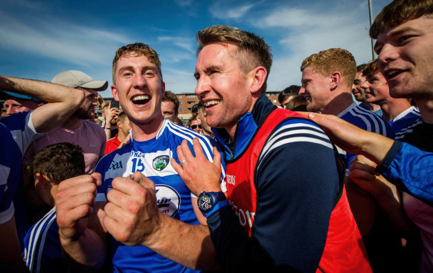 Eddie Brennan celebrates with Ross King after the game