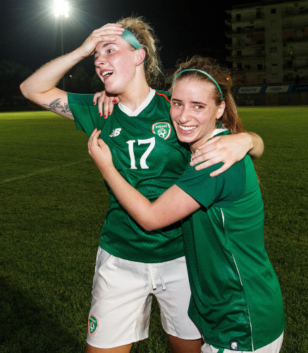 Shauna Fox and Chloe Mustaki celebrate after the game