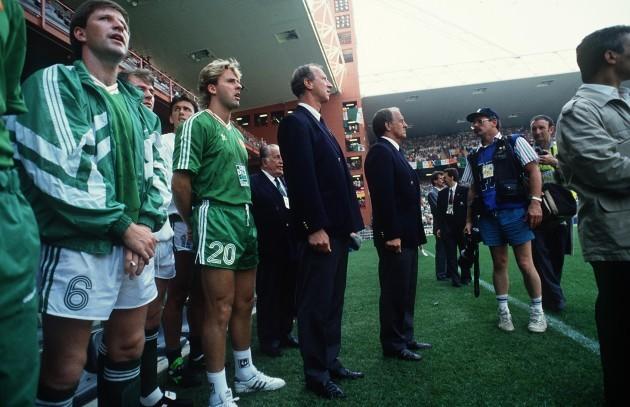 Ronnie Whelan, John Byrne, Jack Charlton and Maurice Setters 1990