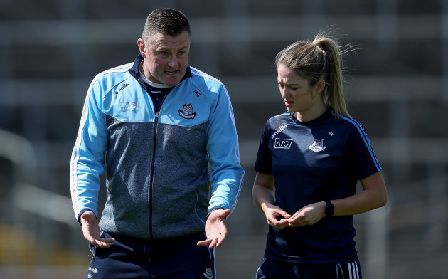 Mick Bohan talks too Siobhan Killeen before the game
