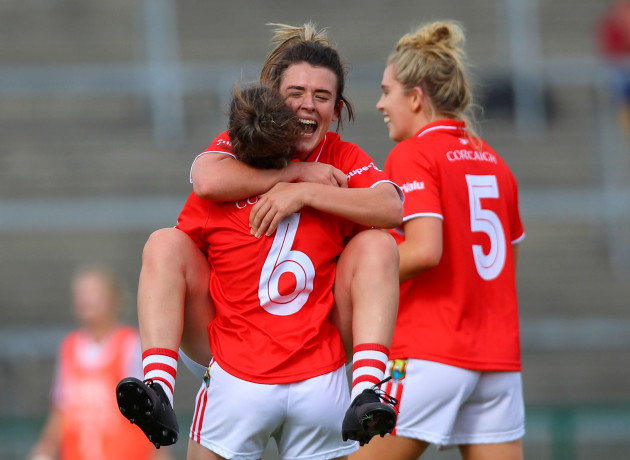 Shauna Kelly celebrates at the final whistle with Doireann O'Sullivan