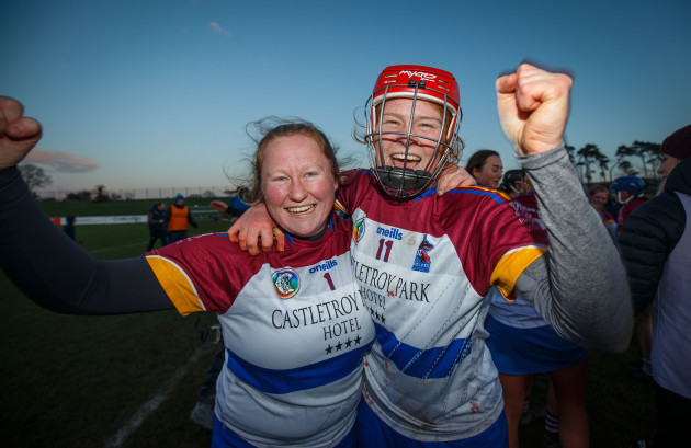 Roisin Breen and Beth Carton celebrate after the game