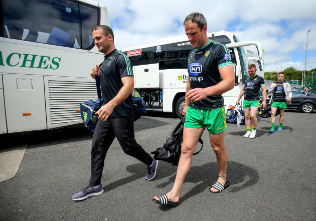Neil McGee and Michael Murphy arrive at MacCumhaill Park