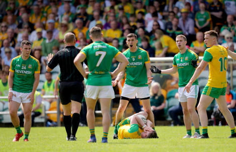 Shane McEntee reacts to a decision made by referee Conor Lane