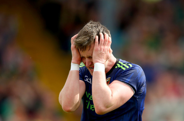 Cillian O'Connor reacts to a missed goal chance