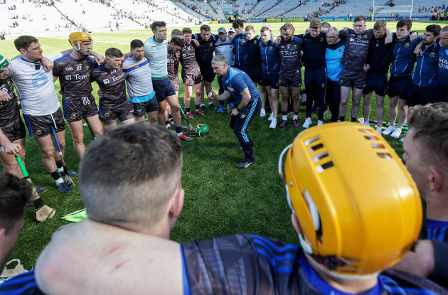 Liam Sheedy speaks to his team after the game