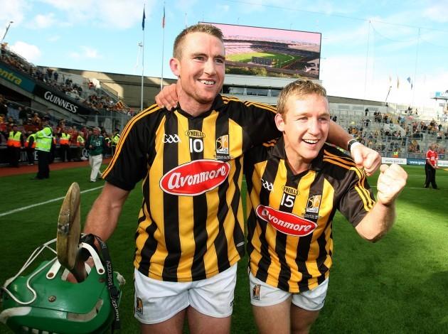 Eddie Brennan and Richie Hogan of Kilkenny celebrate