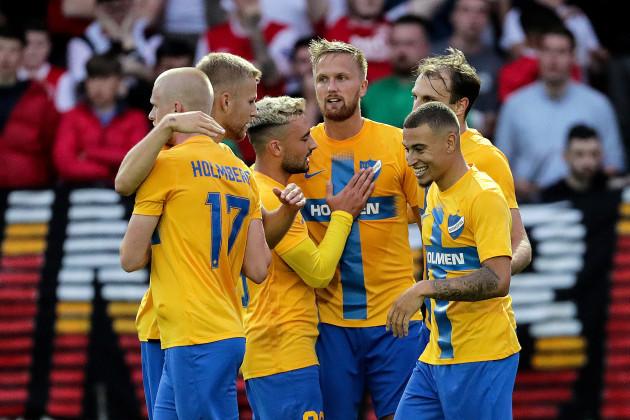 Kasper Larsen celebrates scoring his side's second goal