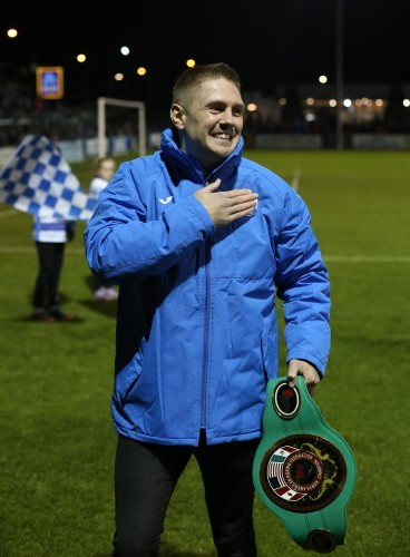 Jason Quigley is introduced to the crowd before kick off