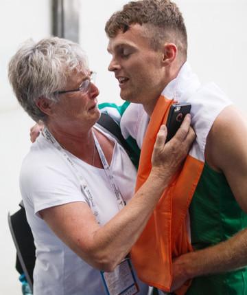 Marcus Lawler celebrates winning bronze with Patricia Lawler