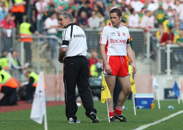 Mickey Harte gets ready to bring on Stephen O'Neill