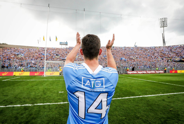 Diarmuid Connolly celebrates after the game