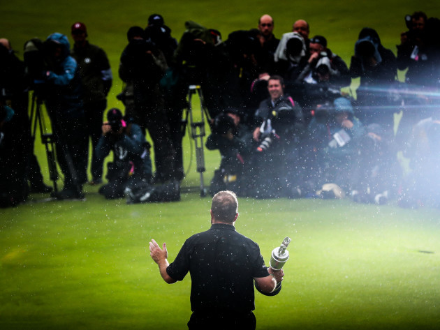 Shane Lowry celebrates with the Claret Jug