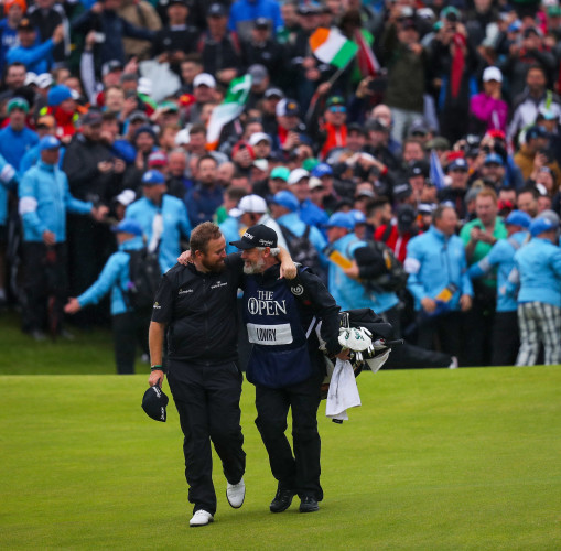 Shane Lowry celebrates winning The Open with Brian Martin